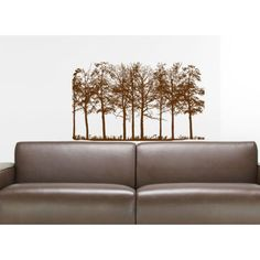 Pine Trees Wall Decal Forest Landscape Nature Vinyl Sticker Decal Size 22x30 Color Brown