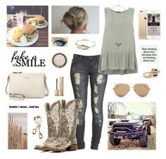 A fashion look from March 2016 featuring ruffle hem shirt, boohoo jeans and western square toe boots. Browse and shop related looks. Cute Casual Outfits, Mom Outfits, Everyday Outfits, Summer Outfits, Cowgirl Outfits, Western Outfits, Cowgirl Style, Cowgirl Tuff, Western Dresses