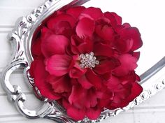 Wedding Bridal Hair Clip Peony Flower - Dark Fall Red - Alligator Clip  - Rhinestone Center - TRINITY. $20.00, via Etsy.
