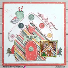 I enjoyed sketching out this gingerbread house and paper piecing it together! Pairs perfectly with the picture 😍 Created using this… Christmas Scrapbook Layouts, Scrapbooking Layouts, Scrapbook Pages, Recipe Scrapbook, Photo Layouts, Simple Stories, Close To My Heart, Paper Piecing, Gingerbread