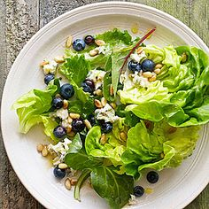 Blueberry Gorgonzola Salad: Take your basic bowl of greens up several notches with this sophisticated salad recipe. It's upscale enough for a dinner party but deceptively easy to make.   Health.com