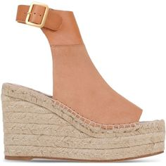Chloé Espadrilles found on Polyvore featuring shoes, sandals, brown, leather shoes, leather wedge sandals, buckle sandals, wedge shoes and brown wedge sandals