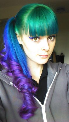 Pretty green blue and purple  ponytail with bangs #hair