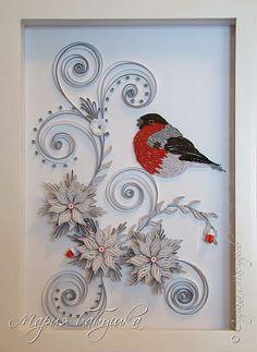 Картина панно рисунок Квиллинг квиллинг Зимние узоры Бумажные полосы фото 1