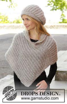 """Bonnet et poncho DROPS en côtes anglaises, tricotés avec 2 fils """"Brushed Alpaca Silk"""". Du S au XXXL. ~ DROPS Design"""