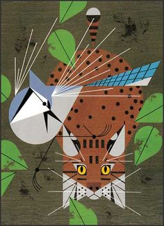 Cat watching bird... by Charley Harper.