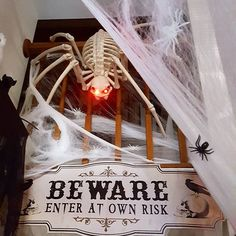 So, want to come in my #halloween house? Beware the giant mutant #spider ! #decorations #prop