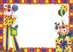 www.milfiestasinfantiles.com invitaciones-fiestas-infantiles invitaciones-de-payasos-para-imprimir-gratis Clown Party, Circus Art, Circus Theme, Cute Picture Frames, Certificate Background, Foto Frame, Thankful Tree, Magic Party, Birthday Frames