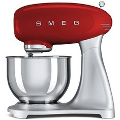 SMEG SMF01RDUK Retro Style Stand Mixer – Red. #HomeAppliances #KitchenAppliances #SMEG #AtlanticElectrics