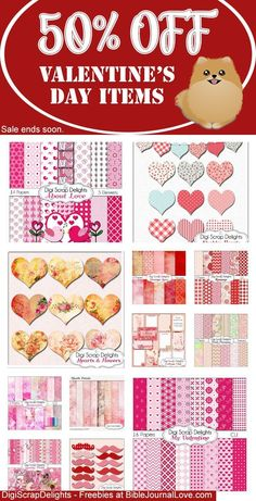 50% OFF Valentine's Day Items at #DigiScrapDelights #valentinesday #valentine #sale #plannerlove #planneraddict #plannerstickers #digitalscrapbooking #clipart #biblejournaling