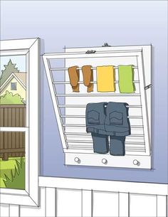 Try This: DIY Wall-Mounted Drying Rack DIY wall-mounted drying rack that lays almost flush with the wall when folded away—perfect for the bathroom, laundry room or kitchen! Diy Clothes Storage, Laundry Room Storage, Laundry In Bathroom, Diy Storage, Laundry Rooms, Storage Ideas, Small Laundry, Drying Rack Laundry, Clothes Drying Racks