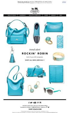 Coach Newsletter - New Trend Turquoise Handbags Purses Heels Stilettos Email Design