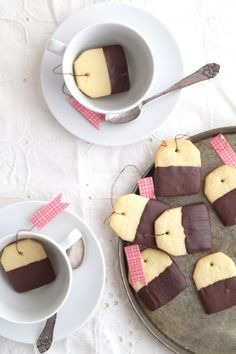 teabag cookies // chocolate dipped shortbread