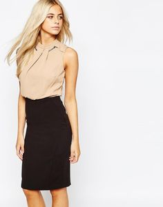 Oasis | Oasis 2 in 1 Necklace Trim Pencil Dress at ASOS