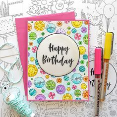 Living My Dream: STAMPtember Blog Party for Simon Says Stamp! Birthday Sweets, Happy 2nd Birthday, Happy Birthday Cards, Colour Pencil Shading, Glitter Gel, Pen And Watercolor, Simon Says Stamp, The Balloon, Gel Pens