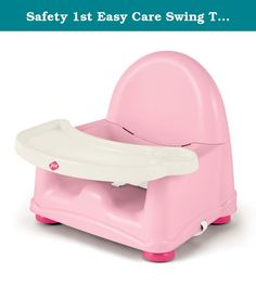 Safety 1st Easy Care Swing Tray Booster Seat, Pink. Simple to clean design, 3 level height adjustment, dishwasher safe, 1 hand swing out tray with cup holder, 3 point harness, chair straps for non slip security.