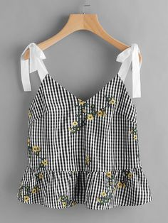 To find out about the Sash Tie Shoulder Blossom Embroidered Ruffle Gingham Top at SHEIN, part of our latest Tank Tops & Camis ready to shop online today! Casual Outfits, Summer Outfits, Cute Outfits, Fashion Outfits, Mode Top, Tee Dress, Mode Inspiration, Mode Style, Cute Tops