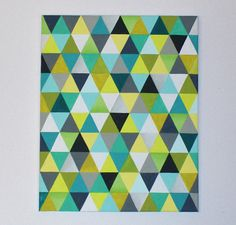 """16"""" x 20"""" Original Acrylic Triangle Painting - greys, greens, yellows and blues"""