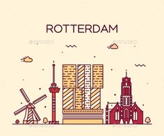 Rotterdam skyline detailed silhouette Trendy vector illustration linear style
