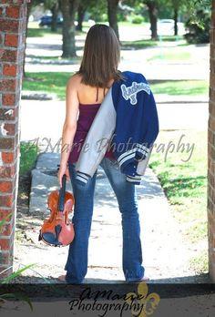 Senior Portrait / Photo / Picture Idea - Musician - Band - Violin - Varsity Letter Jacket - Girls