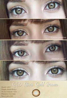 Achieve shining, shimmering eyes with GEO Mari Gold Series. Amazing purple and glitter eye makeup Eye Lens Colour, Color Lenses, Pretty Eyes, Beautiful Eyes, Colored Contacts, Natural Color Contacts, Eye Contacts, Eye Color Chart, Casual Makeup