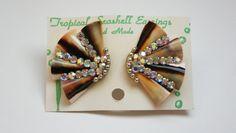 Vintage Rhinestone Sea Shell Earrings 1950s 50s Aurora by wimpyren