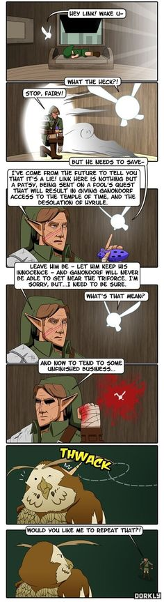 It occurs to me that Hyrule would have been better off if Link had just remained in the Kokiri Forest.  Even if Ganon did get the ocarina of time, he still can't even touch the blade of evil's bane.... sooooo, yeah