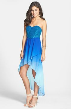 ombre high low sparkly dress<3