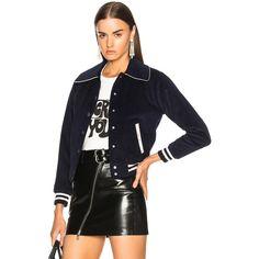 ALEXACHUNG Shrunken Varsity Bomber Jacket (725 AUD) ❤ liked on Polyvore featuring outerwear, jackets, coats & jackets, cordoroy jacket, snap jacket, alexachung, varsity style jacket and teddy jacket