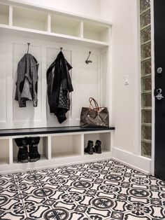 Alexandra Kaehler Design : mudroom with painted cement tile floor