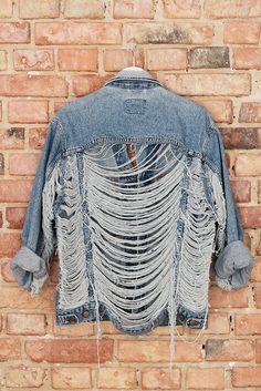 LEE Heavy Ripped Denim Jacket Oversized Destroyed Vintage
