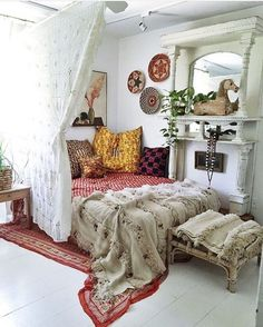 Semi room divider using a curtain, I love this look!