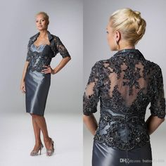 Silver Grey Tea Length Mother Of The Bride Dresses with Jacket Beaded Applique Plus Size Mother Dresses Cheap Wedding Party Gowns Online with $95.48/Piece on Butterfly888's Store   DHgate.com