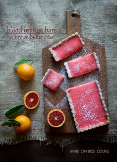 Blood Orange Bars with Brown Butter Crust [How stunning would this look on your dinner table tonight? Perfect opportunity to use #FairTrade sugar!]