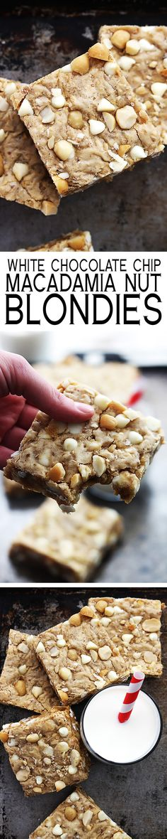 Thick and chewy white chocolate chip macadamia nut blondies - just like the famous cookies but in an easy-to-make bar form!