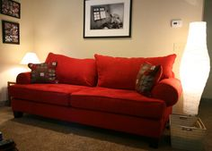 red couch... will go perfect in my guitar themed living room!