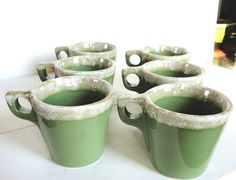 Vintage Green Drip Hull Mugs Set of 6 by OurShabbyCottage on Etsy