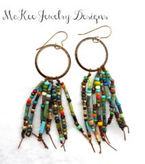 Chocolate brown metal hoops and Czech glass knotted earrings. -  - McKee Jewelry Designs - 1