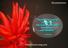 """#Sweetdreams: """"Sometimes asking for help is the most meaningful example of self-reliance.""""— Unknown  ~OaksSeniorLiving.com #quotes #caring #elderly #seniors #Selfreliance Self Reliance, Senior Living, Ask For Help, Sweet Dreams, Atlanta, Quotes, Quotations, Quote, Shut Up Quotes"""