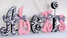 Children's Decor Baby Girl Nursery Letters Black and White Zebra with Baby Pink Set of 6. $89.94, via Etsy.