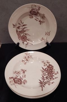 Four Brown Transferware Bowls, Japonisme, Aesthetic Style, c. 1890