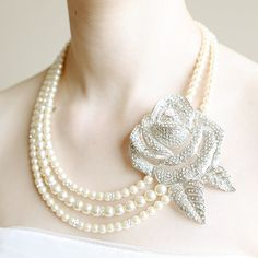 WAVERLY Bridal Jewelry Necklace Ivory Pearl and by GlamorousBijoux, $142.00