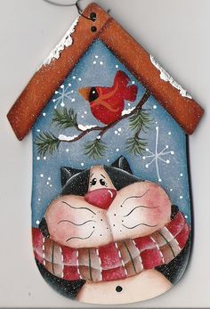 Kitty Birdhouse Ornament by CountryCharmers on Etsy Christmas Paintings, Christmas Art, Christmas Decorations, Christmas Ornaments, Xmas, Painting Patterns, Craft Patterns, Wood Crafts, Diy Crafts
