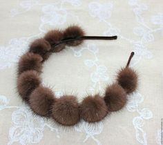 "Fair of Masters - handmade. Buy ""Meet the winter beautifully"" bezel. Leather Accessories, Leather Jewelry, Leather Craft, Hair Jewelry, Beaded Jewelry, Handmade Jewelry, Fur Pom Pom, Hair Ornaments, Diy Hairstyles"