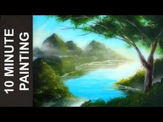 Painting a Forest Lake Landscape with Acrylics in 10 Minutes! - YouTube