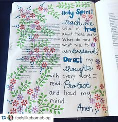 @feelslikehomeblog has written a prayer on the intro pages of her Bible. Great prayer (she quotes the reference below) amid some very pretty flowers!  Lovely! #craftedword #repostedwithpermission #Repost @feelslikehomeblog with @repostapp.  This is the prayer from @jenhatmaker's A Modern Girl's Guide to Bible Study. Seemed perfect for the front of my Bible. #bible #bibleart #biblejournaling #bibleartjournaling #biblejournalingcommunity #illustratedfaith http://ift.tt/1KAavV3