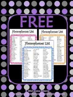 FREE Homophones List Poster: Includes 69 homophones sets in three colors (Orange, Pink, Blue)