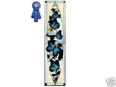 42x10 BLUE BUTTERFLY Stained Art Glass Window Panel Suncatcher