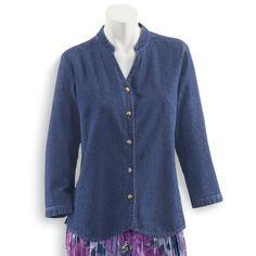 Denim Weskit Shirt - Women's Clothing – Casual, Comfortable & Colorful Styles – Plus Sizes