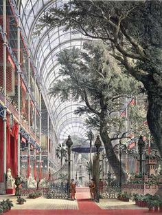 The Crystal Palace - site of the vast Great Exhibition of 1851 in Hyde Park, London.